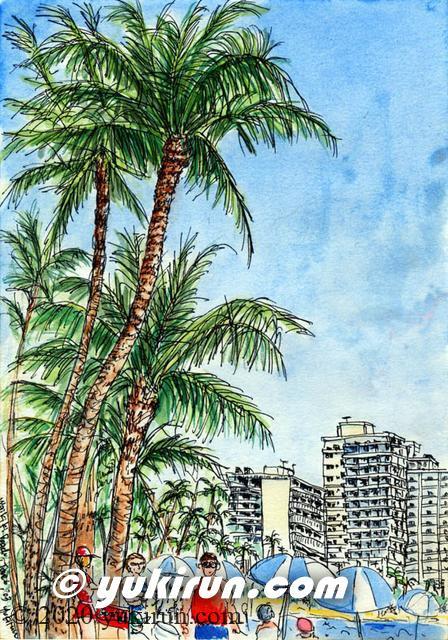 ハワイ ワイキキビーチにて