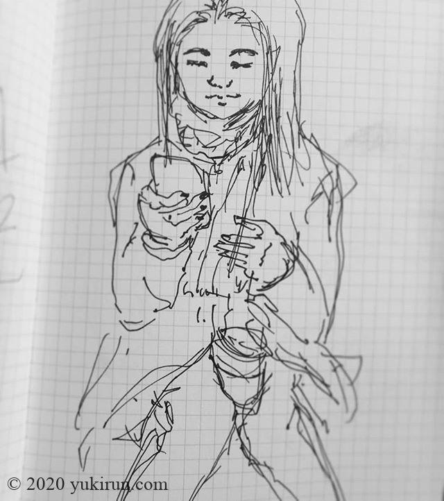 またお絵描き練習はじめました。通勤途中で人物スケッチ。目の前の美人なお姉さん。脚にスタバのカップをはさみながらスマホに夢中…実物はもっと美人でしたよー#sketch #お絵描き練習中 #drowing #人間観察